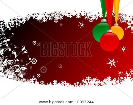 Christmas Balls With Snow Flake On Red Background