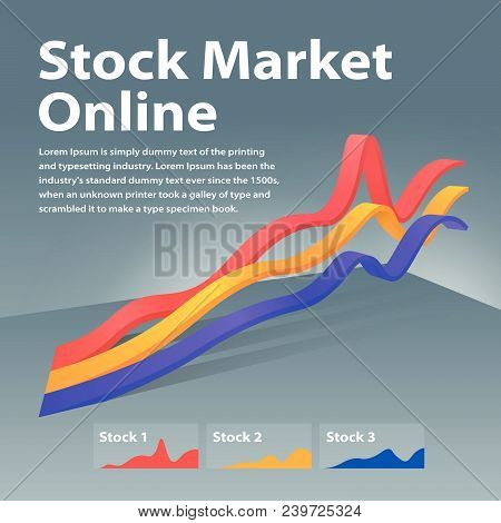 Stock Market Online. Visualization Infographic Concept. Linear Graph 3d. Graph Of Cryptocurrency Or