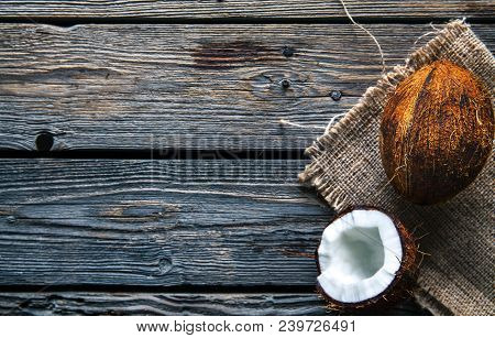Coconuts On A Wooden Background, Food, Nature A