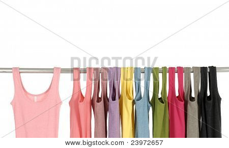 Line of colorful shirt rack