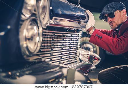 Classic Car Passionate. Caucasian Collector Looking For The New Vintage Car For His Collection. Hist