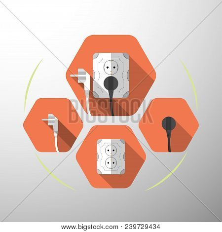 Set Of Electric Outlet And Plug Type F Isolated Icons With The Inserted Black Plug On The Red Hexago