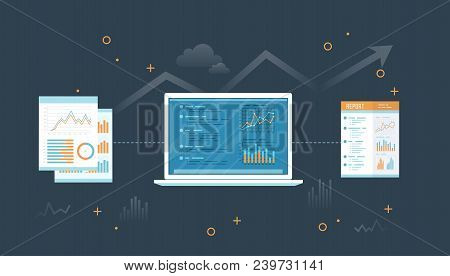 Laptop With Documents And Report. Information With Graphs And Graphs On The Screen. Financial Auditi