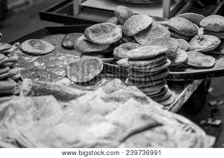 Lebanese Man Preparing Typical Sesame And Cheese Bread, Center Of Tripoli, Northern Lebanon City. Le