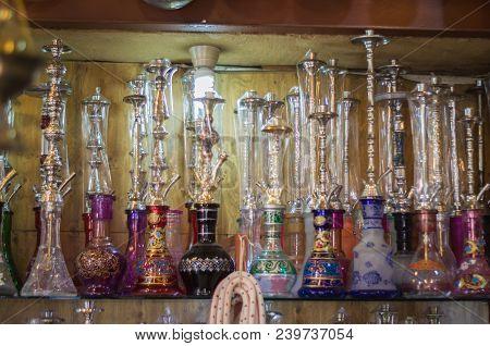 Trípoli, Lebanon, April 09 - 2017: Shelf With Traditional Arguiles (narguile,shisha, Chicha, Hookah)