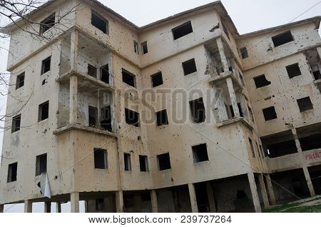 Beqaa, Lebanon, April 04 - 2017: Marks Of War, Lebanese House Machine-gunned, Bombed, Destroyed By C