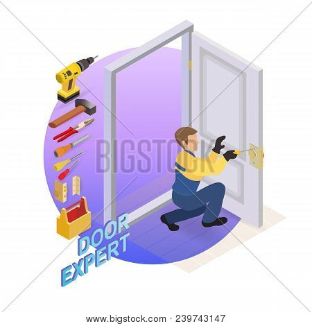 Isometric Interior Repairs Concept. The Worker Dressed In A Blue Overalls Installs A Door Knob. Repa