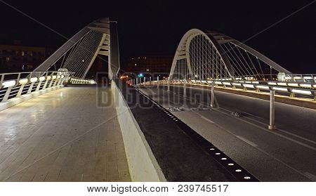 Calatrava Bridge, Bridge, Roads, Bridge Artificial Lighting, Traffic, Footbridge, Bridge Over Tram,