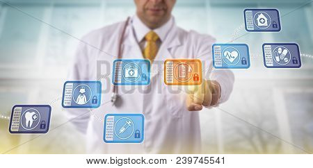 Unrecognizable Doctor Accessing Medical Records By Selecting A Data Block In A Healthcare Blockchain