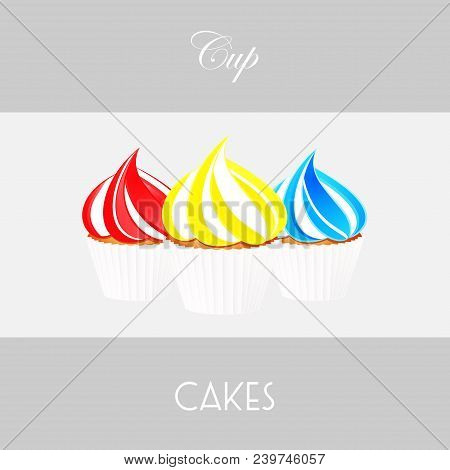 Trio Of Cupcakes Strawberry And Cream Lemon And Cream And Blueberry And Cream Over White Panel With