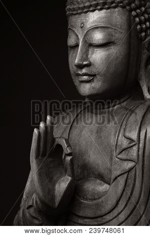 The black-and-white image of pacified and obtained an enlightenment Buddha, with the hand raised, as if would speak to us - all right. poster