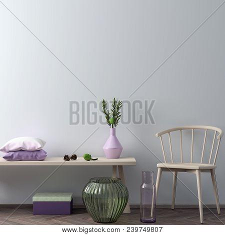 Mock Up Poster Frame In Hipster Interior Background In Pink Colors, Scandinavian Style, 3d Render, 3