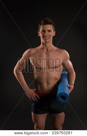 Sportsman Smile With Sexy Torso And Six Pack. Happy Man Hold Yoga Mat. Athlete Smiling With Strong A