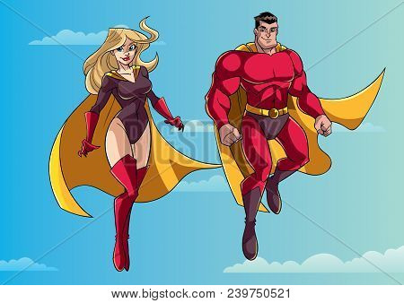 Illustration Of Happy And Smiling Superhero Couple, Flying High In The Sky.