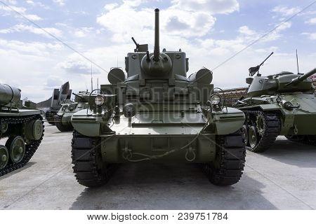 Verkhnyaya Pyshma, Russia - May 01, 2018: American Light Tank M3 Stuart In The Museum Of Military Eq