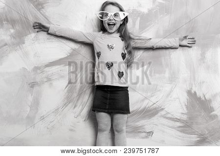 Child Girl On Colorful Background. Small Girl In Fashionable Summer Glasses. Glasses On Girl Kid Wit
