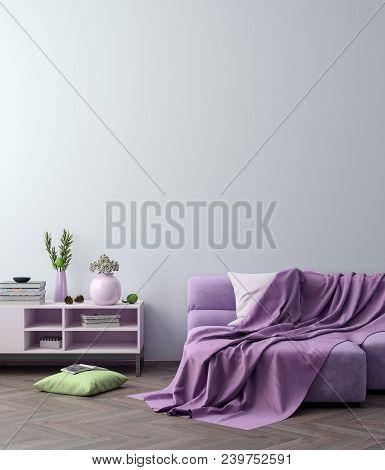 Mock Up Poster Frame In Hipster Interior Background In Pink Colors, 3d Render, 3d Illustration.