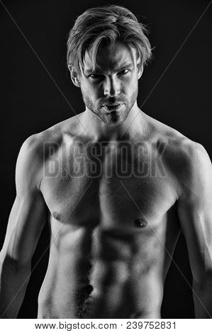 Bearded Man Athlete With Fit Torso. Bodybuilder With Sexy Chest And Belly. Sportsman Show Muscles. W
