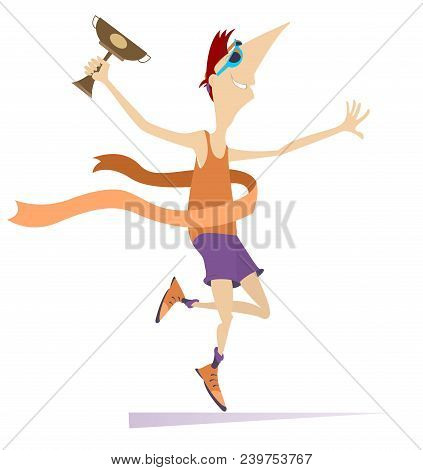 Cartoon Sportsman A Winner Isolated On White Illustration. Smiling Running Young Sportsman With A Cu