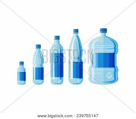 Plastic Bottle Water Set. Blue Drinking Water Packaged In Pet Bottle. Healthy Agua Bottles Vector Il