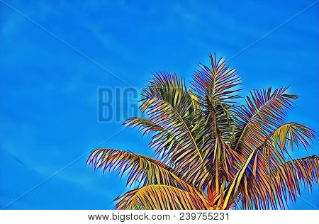 Colorful Coco Palm Tree On Blue Sky Digital Illustration. Vibrant Tropical Vacation Banner Template