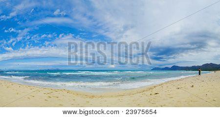 Beautiful blue beach panoramic sea view