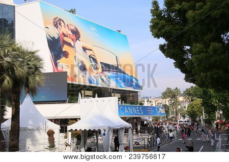CANNES, FRANCE - MAY 8: A general view of street Palais de festival during the 71th Annual Cannes Film Festival on May 8, 2018 in Cannes, France