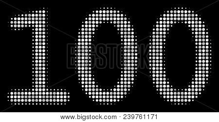 100 Text Halftone Vector Icon. Illustration Style Is Dotted Iconic 100 Text Icon Symbol On A Black B