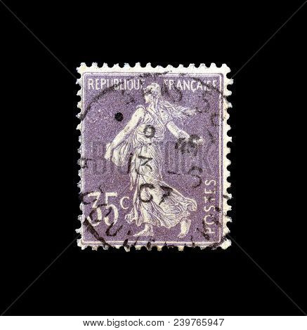 France - Circa 1906 : Cancelled Postage Stamp Printed By France, That Shows Sower.