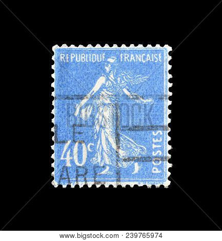 France - Circa 1927 : Cancelled Postage Stamp Printed By France, That Shows Sower.