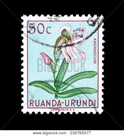Ruanda-urundi - Circa 1953 : Cancelled Postage Stamp Printed By Ruanda Urundi, That Shows Comet Orch