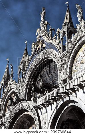 Facade Of Basilica Of Saint Mark In Venice Italy With Hdr Effect