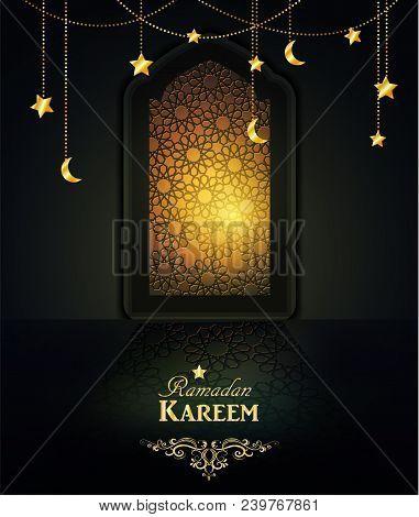 Ramadan Background Mosque Window With Arabic Pattern - Translation Of Text Ramadan Kareem - May Gene