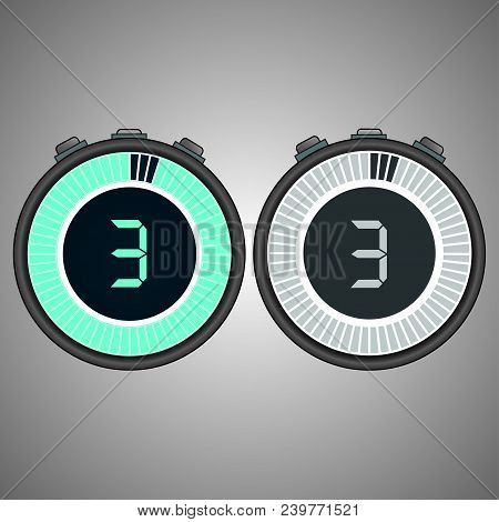 Electronic Digital Stopwatch. Timer 3 Seconds Isolated On Gray Background.stopwatch Icon Set. Timer