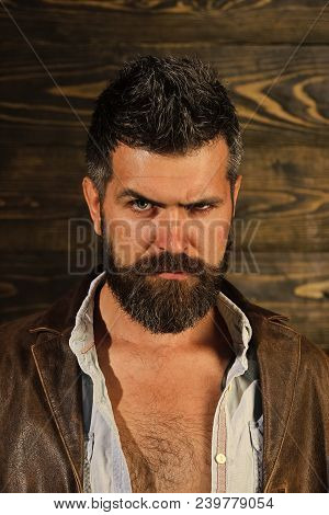 Serious Hipster In Barbershop, Look. Hipster With Beard Serious Face On Wooden Background