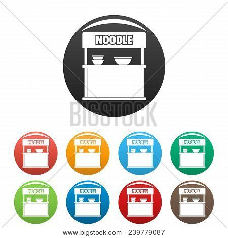 Noodle Selling Icon. Simple Illustration Of Noodle Selling Vector Icons Set Color Isolated On White