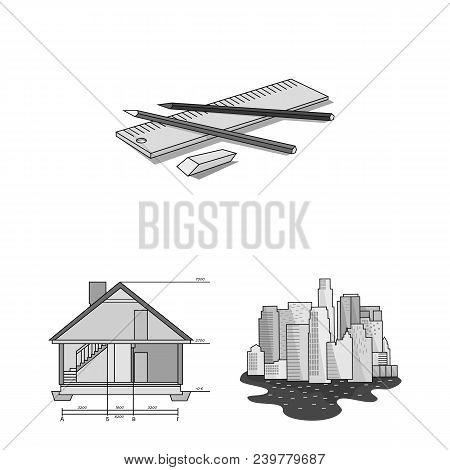 Architecture And Construction Monochrome Icons In Set Collection For Design. Architect And Equipment