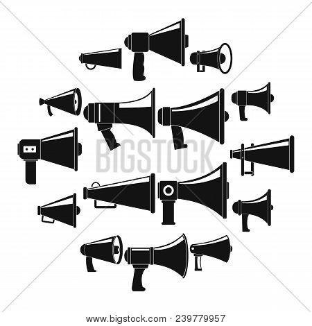 Megaphone Loud Speaker Icons Set. Simple Illustration Of 16 Megaphone Loud Speaker Alcohol Logo Vect