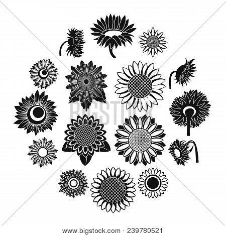 Sunflower Blossom Icons Set. Simple Illustration Of 16 Sunflower Blossom Vector Icons For Web