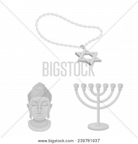 Religion And Belief Monochrome Icons In Set Collection For Design. Accessories, Prayer Vector Symbol