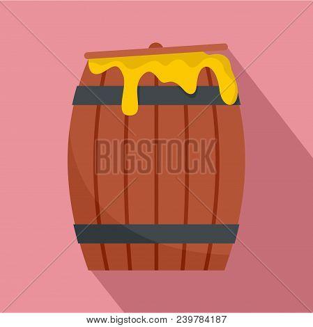 Wood Honey Barrel Icon. Flat Illustration Of Wood Honey Barrel Vector Icon For Web Design