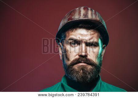 Portrait Architect Builder On Construction Site. Business, Building Concept - Smiling Builder In Har