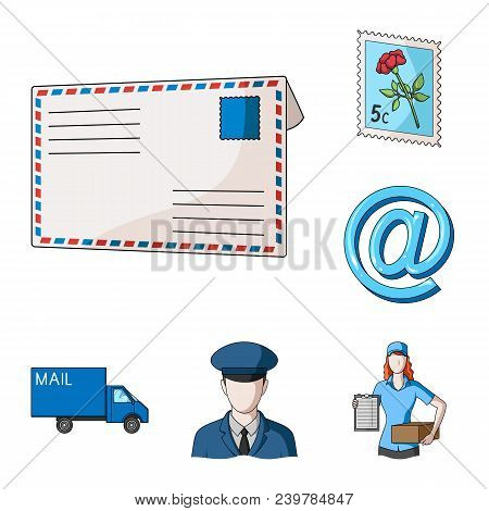 Mail And Postman Cartoon Icons In Set Collection For Design. Mail And Equipment Vector Symbol Stock