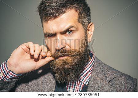 Barbershop. Fashionable Bearded Man. Barbershop For Men. Stylish Clothes.