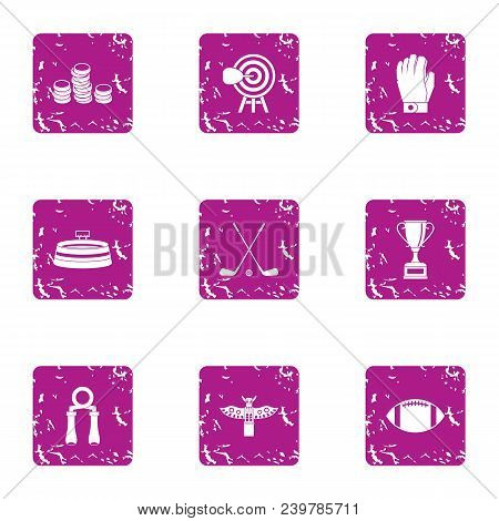 Sport Salary Icons Set. Grunge Set Of 9 Sport Salary Vector Icons For Web Isolated On White Backgrou