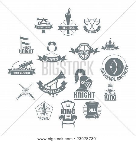 Knight Medieval Logo Icons Set. Simple Illustration Of 16 Knight Medieval Logo Vector Icons For Web
