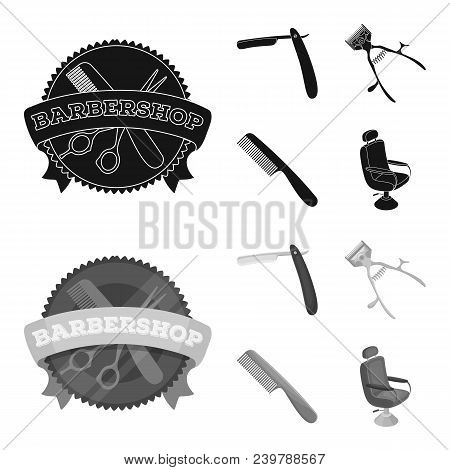 A Razor, A Mechanical Hair Clipper, An Armchair And Other Equipment For A Hairdresser.barbershop Set