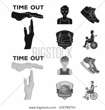 Basketball And Attributes Black, Monochrom Icons In Set Collection For Design.basketball Player And