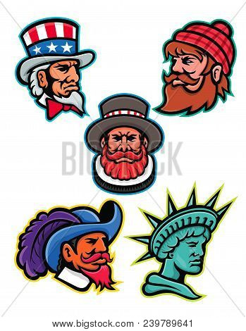 Mascot icon illustration set of heads of American and British mascots such as Uncle Sam, Paul Bunyan lumberjack, Beefeater or Yeoman, Cavalier or Musketeer and Lady Liberty or Libertas on isolated background in retro style. poster