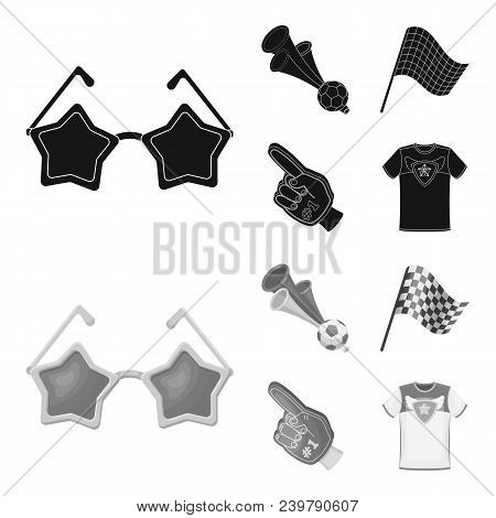 Pipe, Uniform And Other Attributes Of The Fans.fans Set Collection Icons In Black, Monochrom Style V